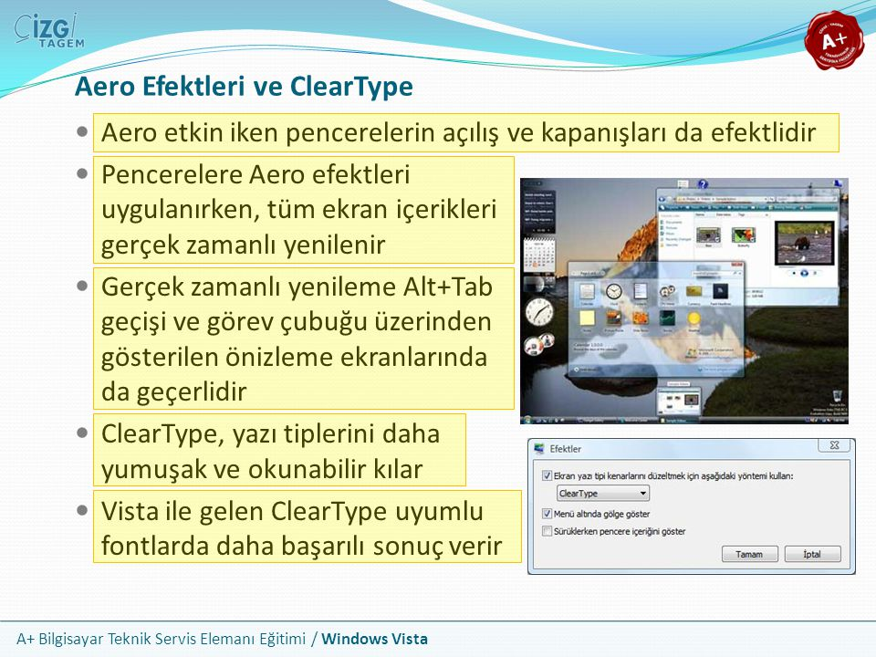 Aero Efektleri ve ClearType