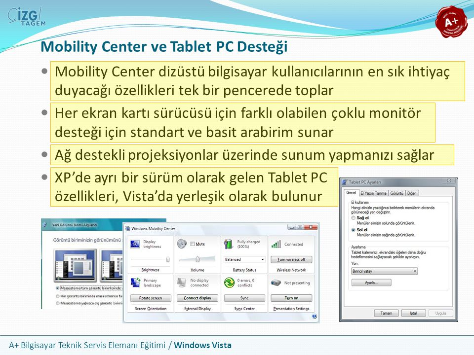 Mobility Center ve Tablet PC Desteği