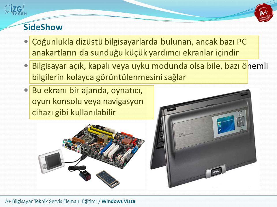 SideShow Çoğunlukla dizüstü bilgisayarlarda bulunan, ancak bazı PC anakartların da sunduğu küçük yardımcı ekranlar içindir.