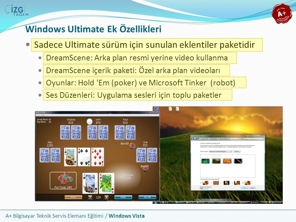 Windows Ultimate Ek Özellikleri