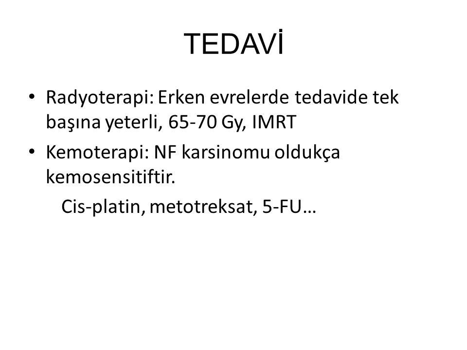 TEDAVİ Radyoterapi: Erken evrelerde tedavide tek başına yeterli, 65-70 Gy, IMRT. Kemoterapi: NF karsinomu oldukça kemosensitiftir.