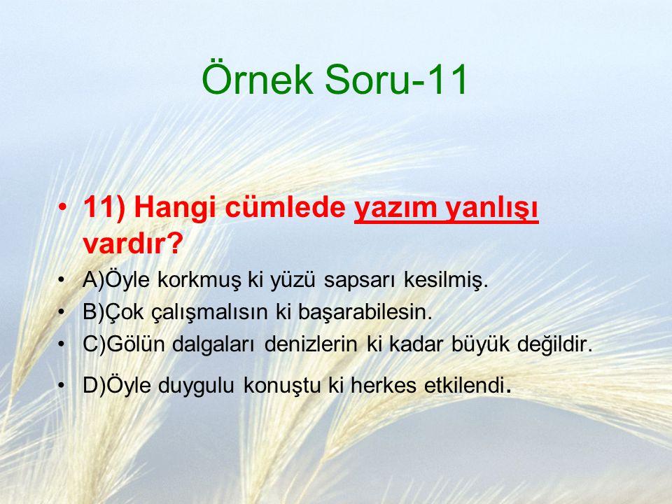 Örnek Soru-11 11) Hangi cümlede yazım yanlışı vardır
