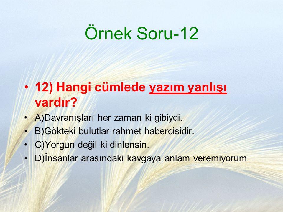 Örnek Soru-12 12) Hangi cümlede yazım yanlışı vardır