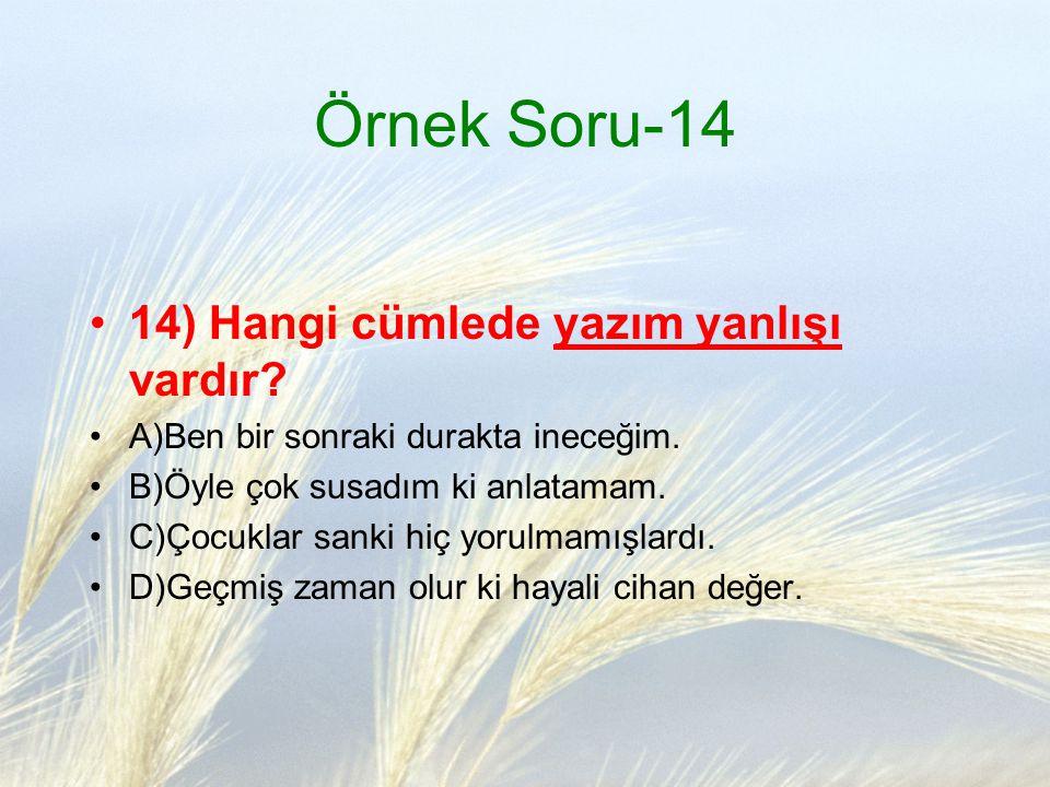 Örnek Soru-14 14) Hangi cümlede yazım yanlışı vardır