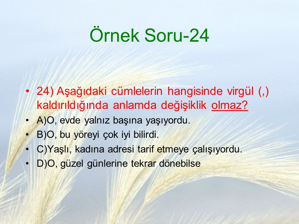 Örnek Soru-24 24) Aşağıdaki cümlelerin hangisinde virgül (,) kaldırıldığında anlamda değişiklik olmaz