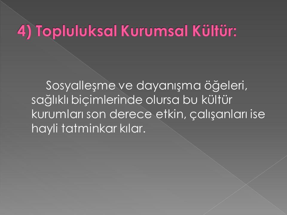 4) Topluluksal Kurumsal Kültür: