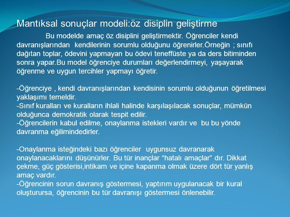 Mantıksal sonuçlar modeli:öz disiplin geliştirme