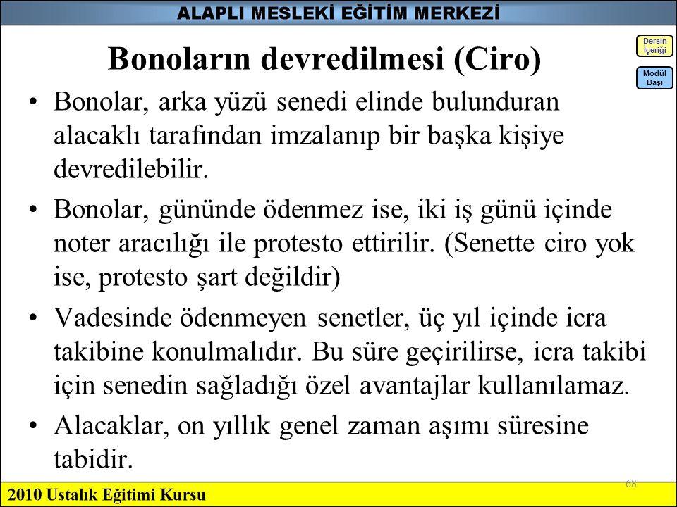 Bonoların devredilmesi (Ciro)