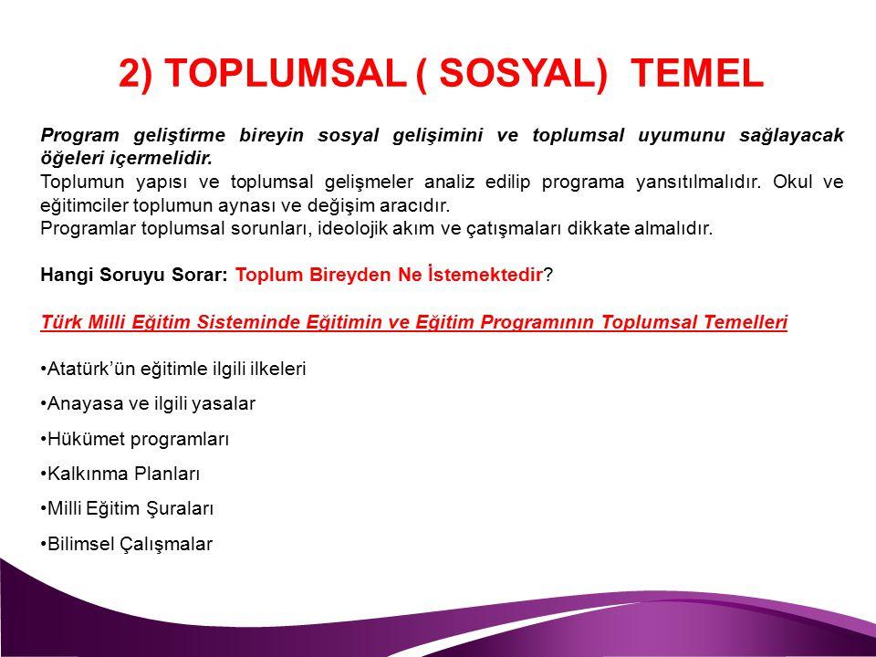 2) TOPLUMSAL ( SOSYAL) TEMEL