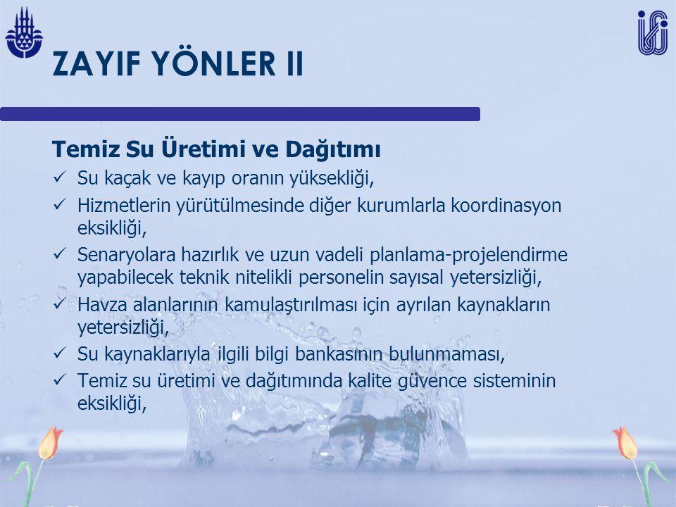 ZAYIF YÖNLER II Temiz Su Üretimi ve Dağıtımı