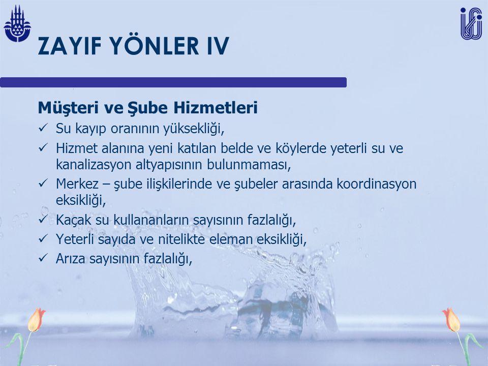ZAYIF YÖNLER IV Müşteri ve Şube Hizmetleri
