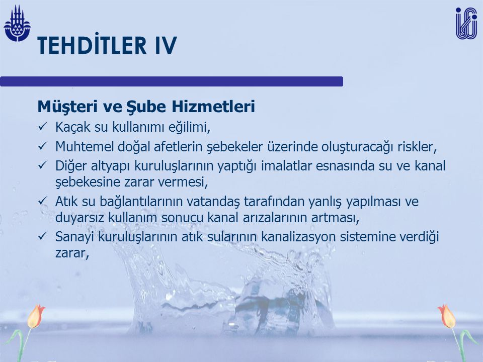 TEHDİTLER IV Müşteri ve Şube Hizmetleri Kaçak su kullanımı eğilimi,
