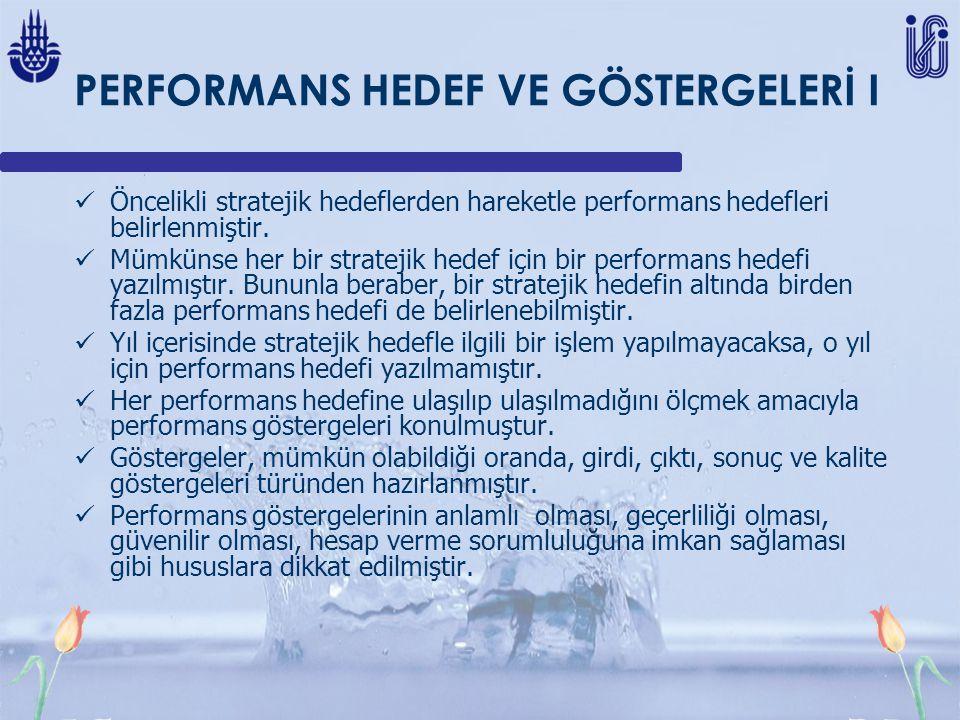 PERFORMANS HEDEF VE GÖSTERGELERİ I