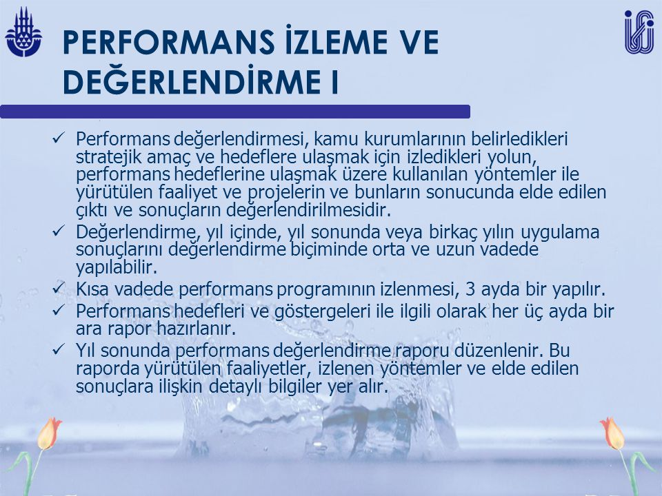 PERFORMANS İZLEME VE DEĞERLENDİRME I