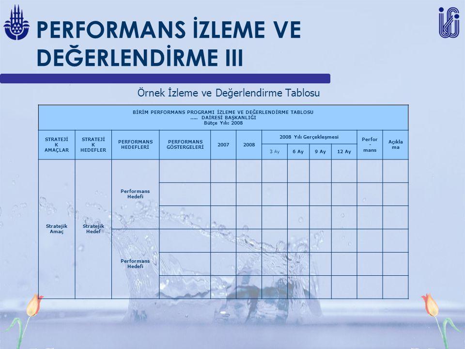 PERFORMANS İZLEME VE DEĞERLENDİRME III