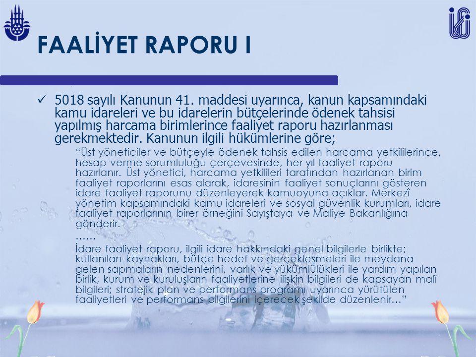 FAALİYET RAPORU I
