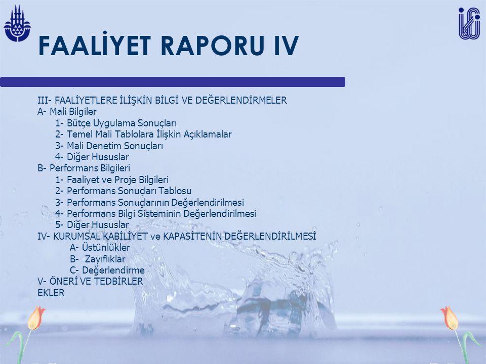 FAALİYET RAPORU IV III- FAALİYETLERE İLİŞKİN BİLGİ VE DEĞERLENDİRMELER