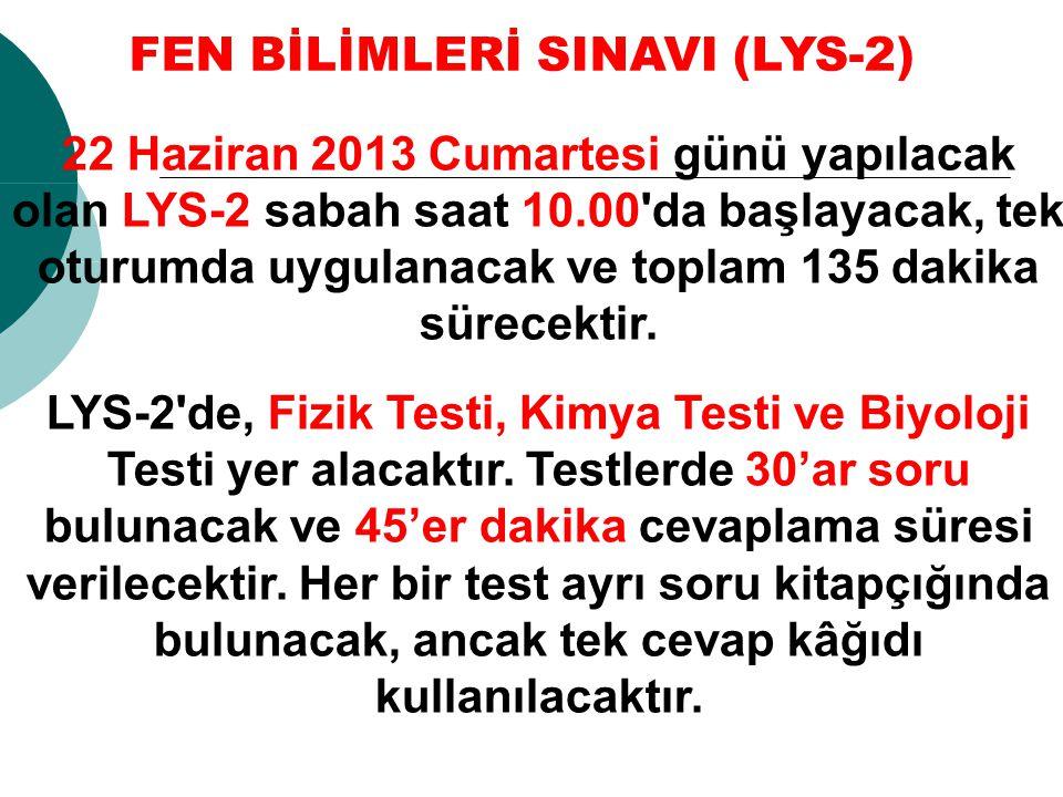 FEN BİLİMLERİ SINAVI (LYS-2)