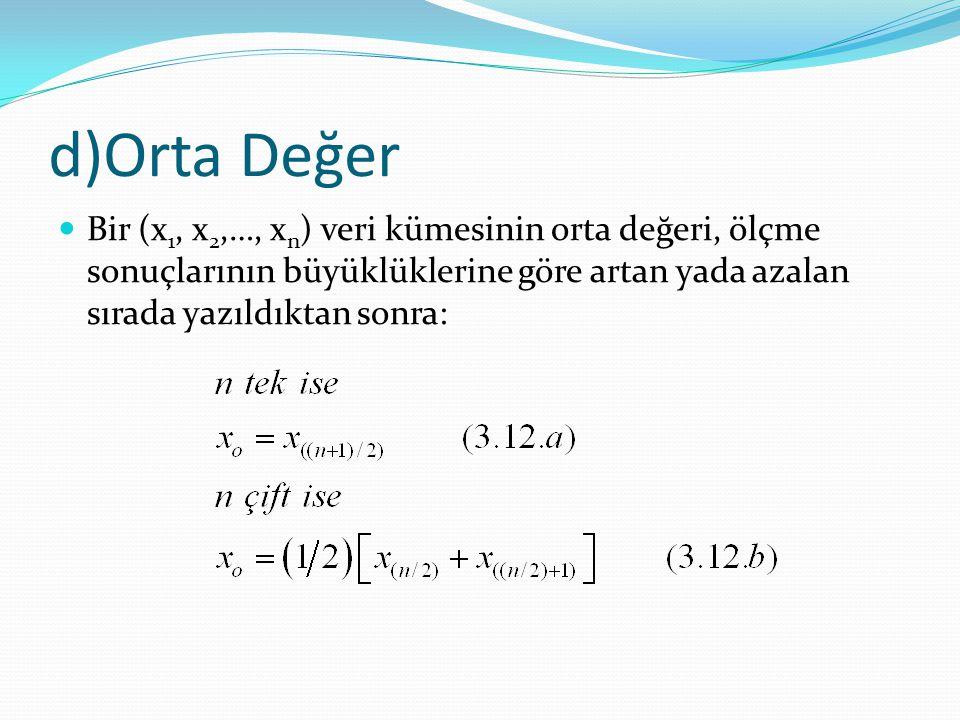d)Orta Değer Bir (x1, x2,…, xn) veri kümesinin orta değeri, ölçme sonuçlarının büyüklüklerine göre artan yada azalan sırada yazıldıktan sonra: