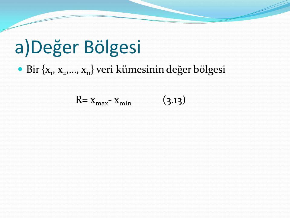 a)Değer Bölgesi Bir {x1, x2,…, xn} veri kümesinin değer bölgesi