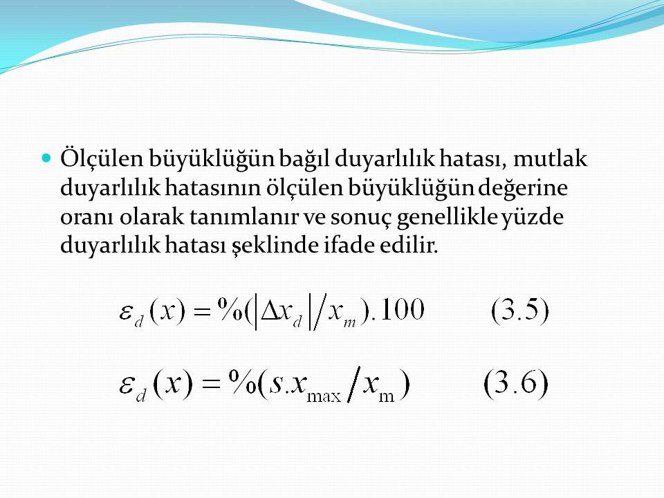 Ölçülen büyüklüğün bağıl duyarlılık hatası, mutlak duyarlılık hatasının ölçülen büyüklüğün değerine oranı olarak tanımlanır ve sonuç genellikle yüzde duyarlılık hatası şeklinde ifade edilir.