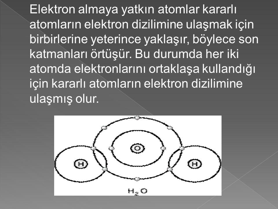 Elektron almaya yatkın atomlar kararlı atomların elektron dizilimine ulaşmak için birbirlerine yeterince yaklaşır, böylece son katmanları örtüşür.