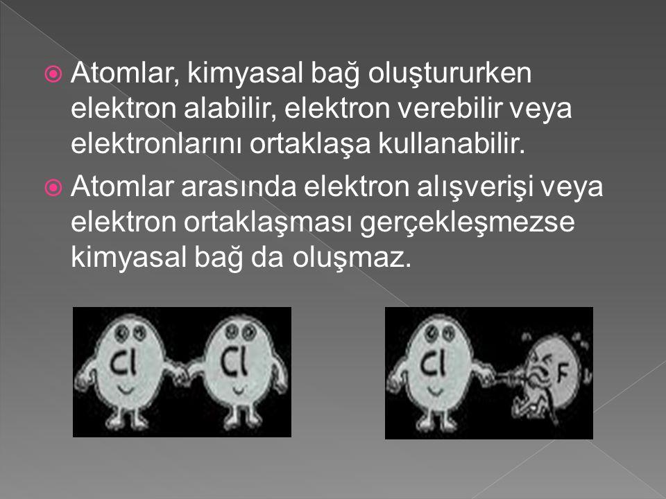 Atomlar, kimyasal bağ oluştururken elektron alabilir, elektron verebilir veya elektronlarını ortaklaşa kullanabilir.