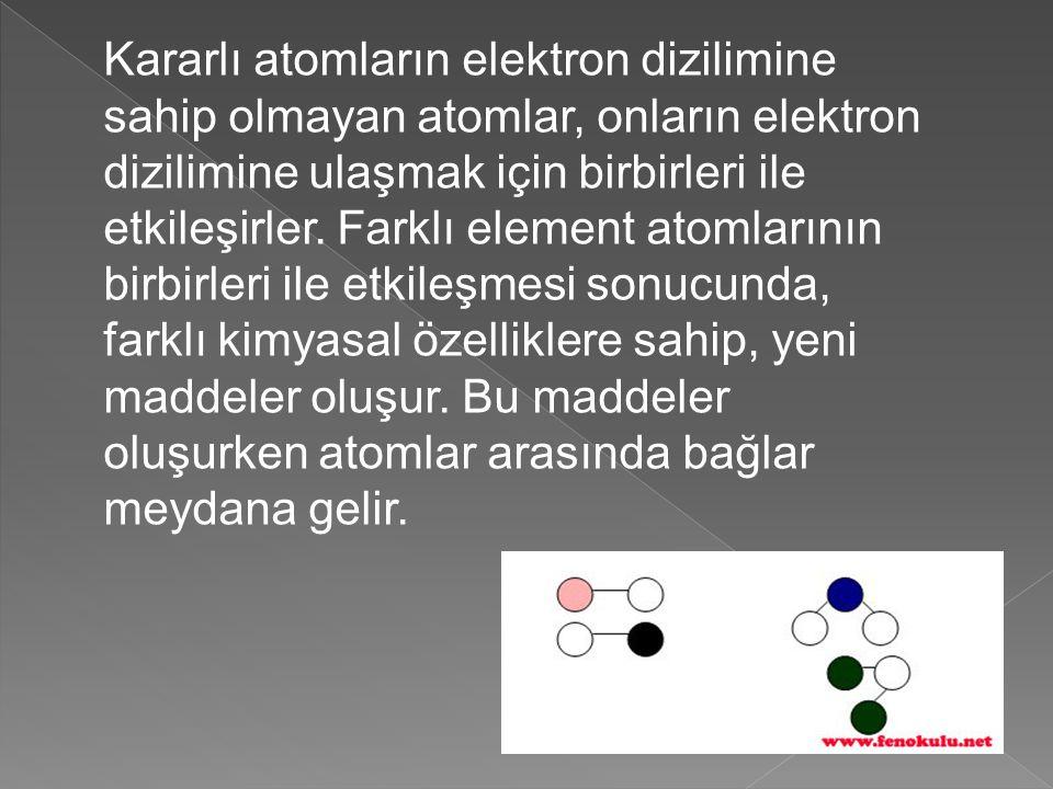 Kararlı atomların elektron dizilimine sahip olmayan atomlar, onların elektron dizilimine ulaşmak için birbirleri ile etkileşirler.