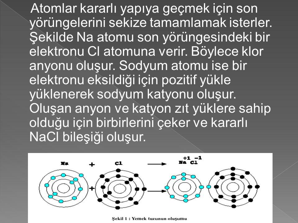 Atomlar kararlı yapıya geçmek için son yörüngelerini sekize tamamlamak isterler.