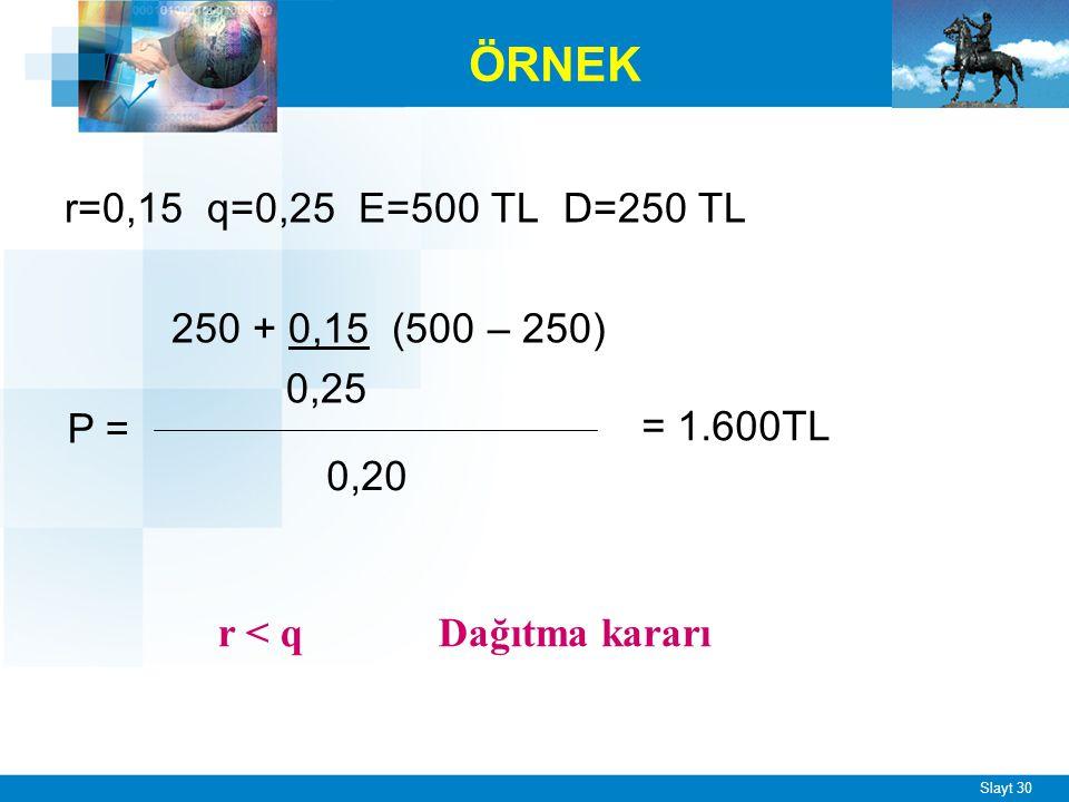 ÖRNEK D = E olarak alınır 500 + 0,15 (500 – 500) 0,25 P = = 2.000TL