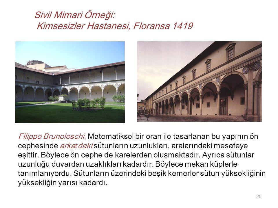 Sivil Mimari Örneği: Kimsesizler Hastanesi, Floransa 1419
