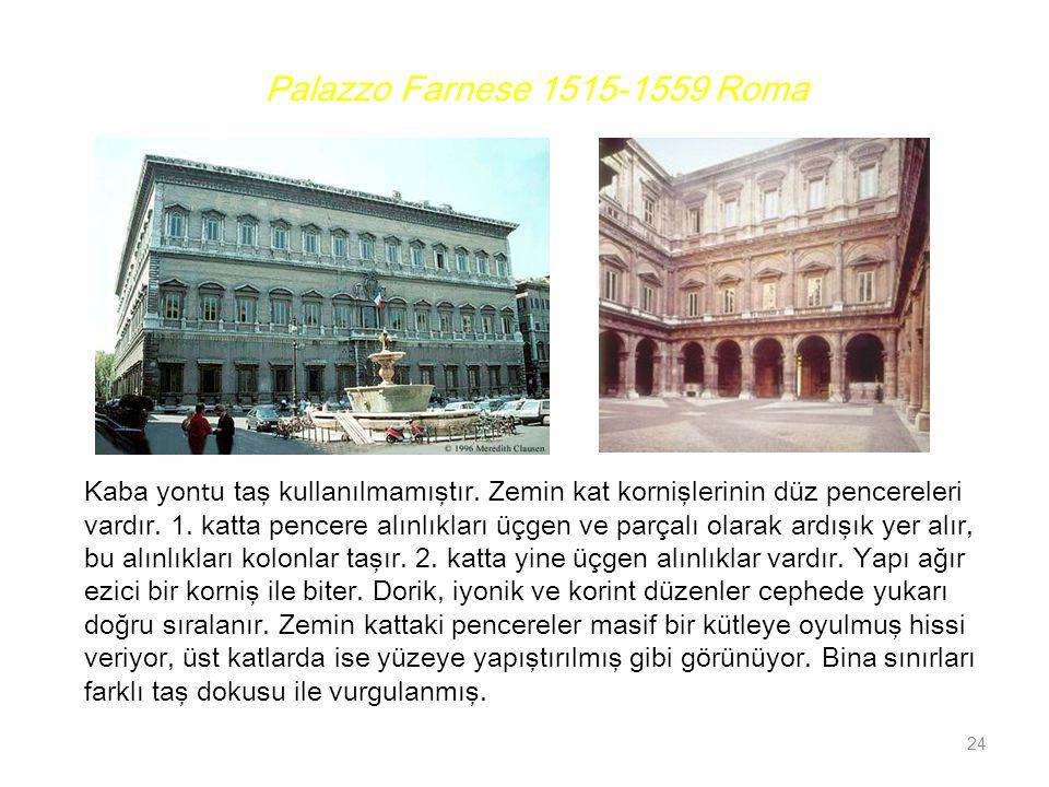 Palazzo Farnese 1515-1559 Roma Kaba yontu taş kullanılmamıştır. Zemin kat kornişlerinin düz pencereleri.