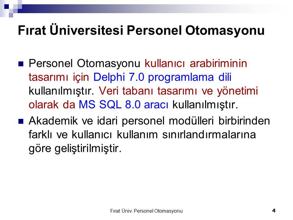 Fırat Üniversitesi Personel Otomasyonu