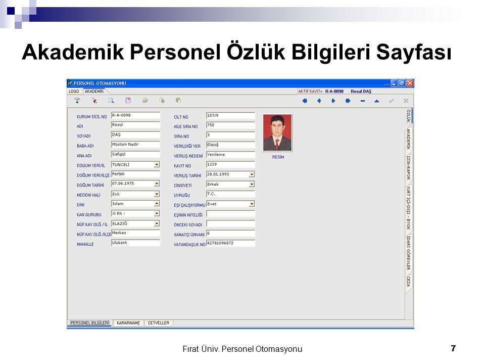 Akademik Personel Özlük Bilgileri Sayfası