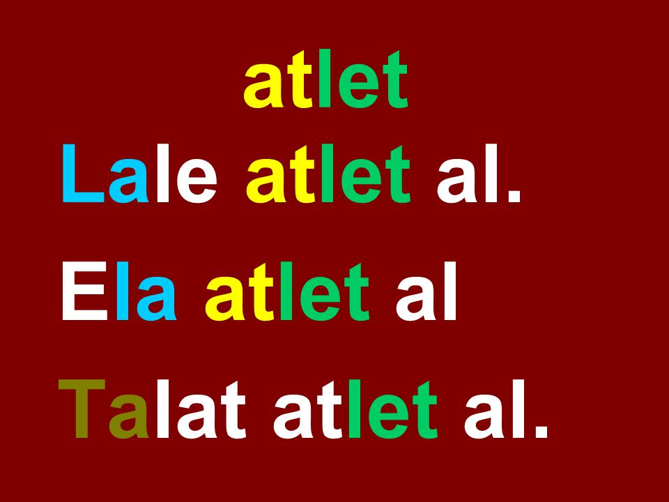 atlet Lale atlet al. Ela atlet al Talat atlet al.