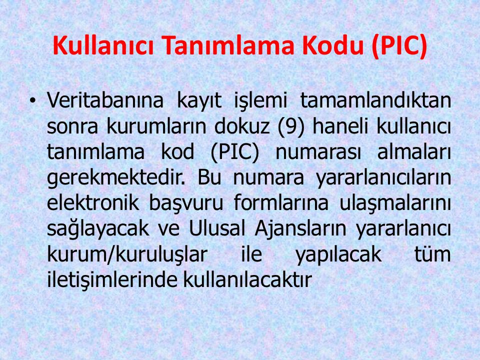 Kullanıcı Tanımlama Kodu (PIC)