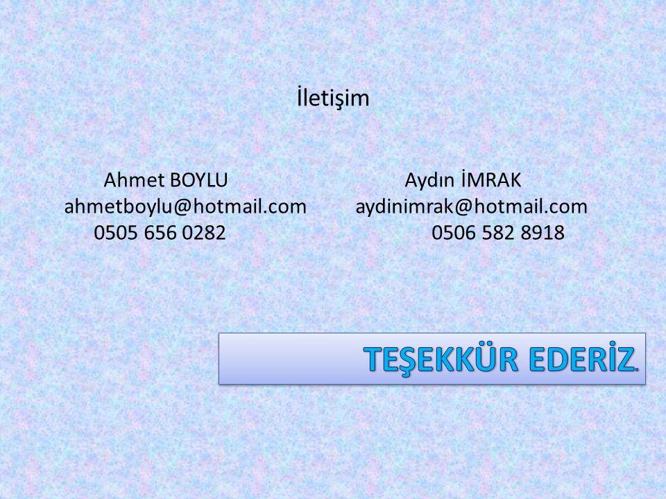 TEŞEKKÜR EDERİZ. Ahmet BOYLU Aydın İMRAK
