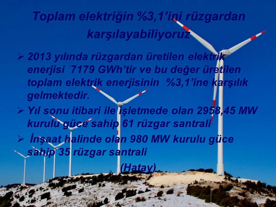 Toplam elektriğin %3,1'ini rüzgardan karşılayabiliyoruz
