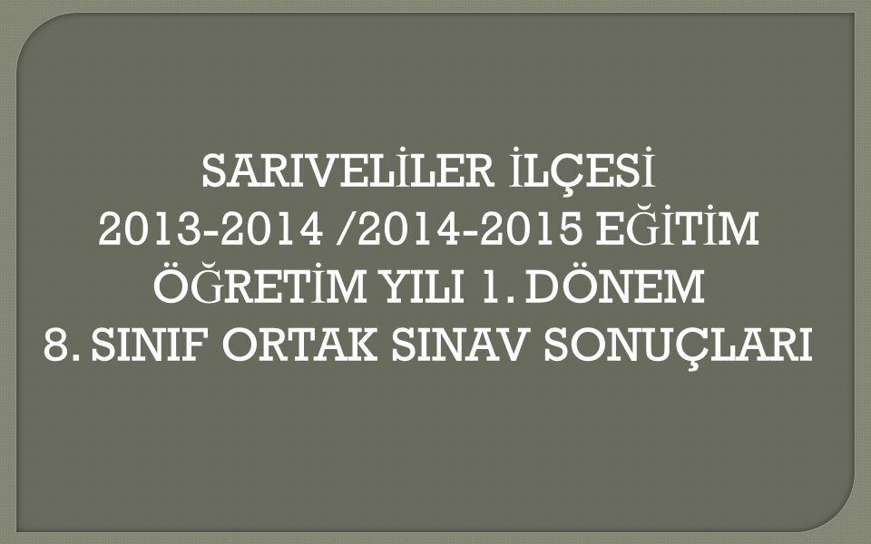 SARIVELİLER İLÇESİ 2013-2014 /2014-2015 EĞİTİM ÖĞRETİM YILI 1. DÖNEM