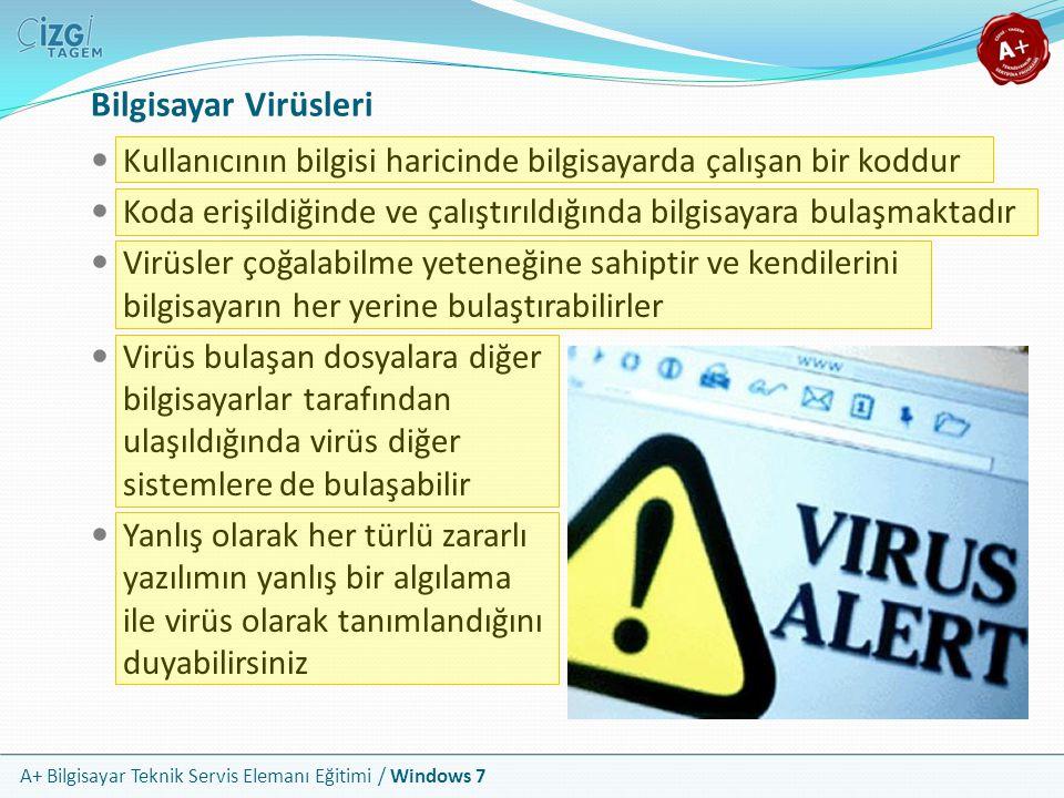Bilgisayar Virüsleri Kullanıcının bilgisi haricinde bilgisayarda çalışan bir koddur.