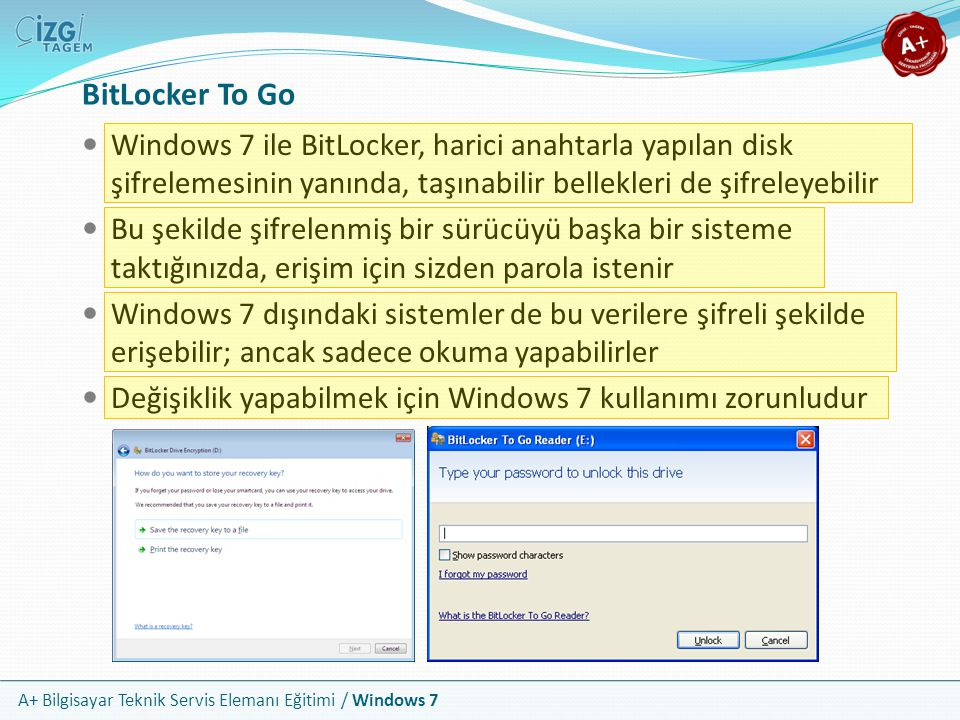 BitLocker To Go Windows 7 ile BitLocker, harici anahtarla yapılan disk şifrelemesinin yanında, taşınabilir bellekleri de şifreleyebilir.