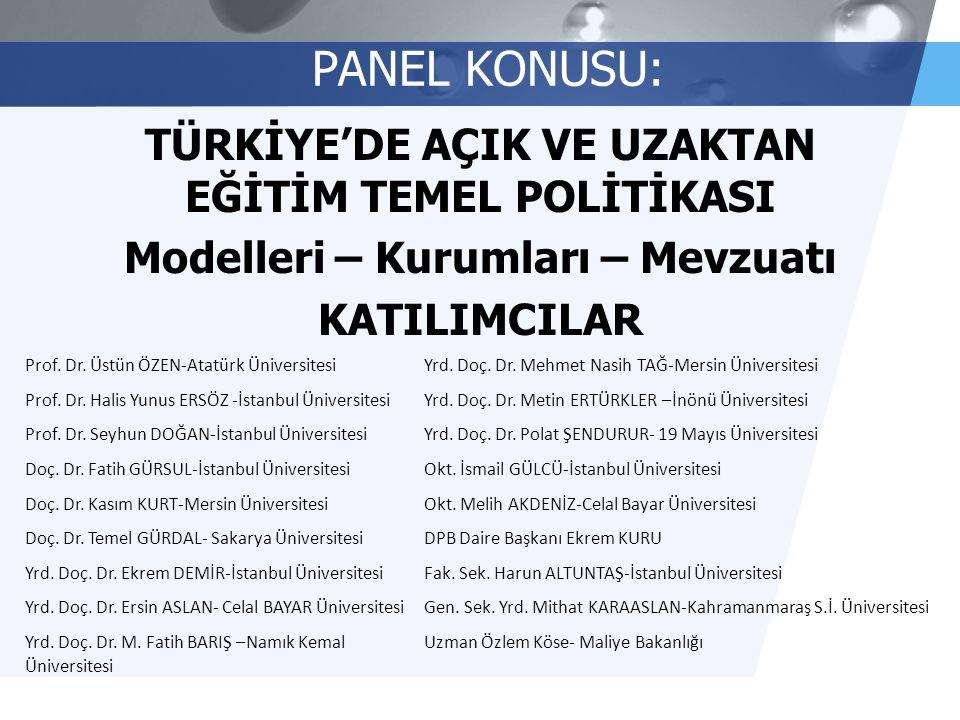 PANEL KONUSU: TÜRKİYE'DE AÇIK VE UZAKTAN EĞİTİM TEMEL POLİTİKASI Modelleri – Kurumları – Mevzuatı KATILIMCILAR