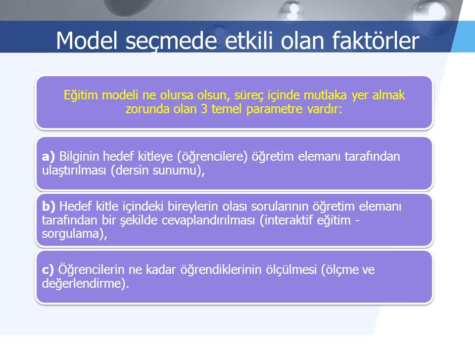 Model seçmede etkili olan faktörler