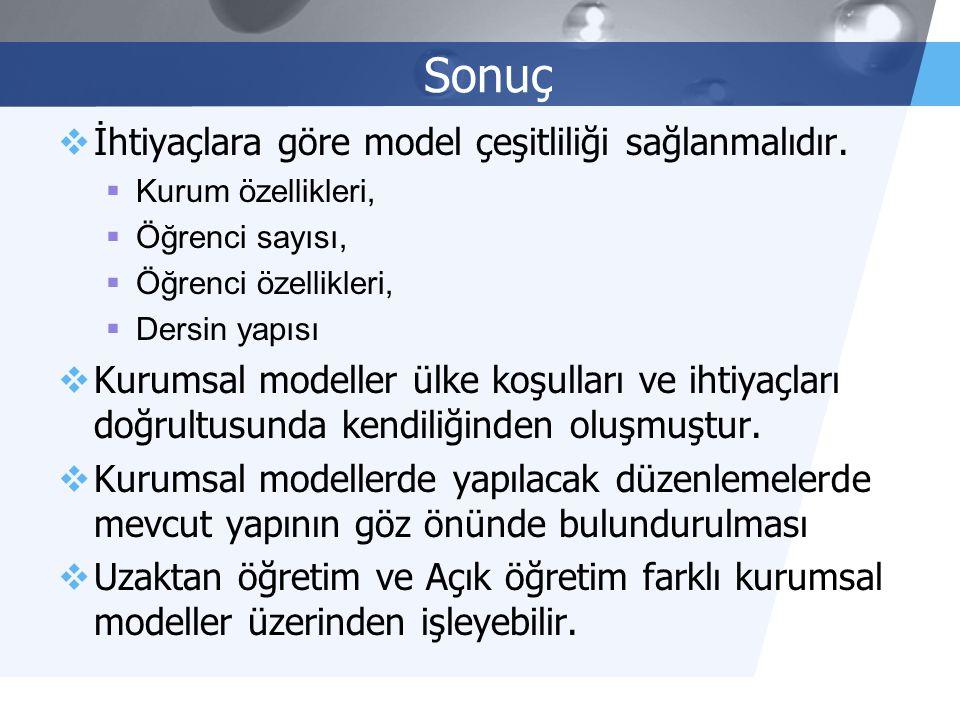 Sonuç İhtiyaçlara göre model çeşitliliği sağlanmalıdır.