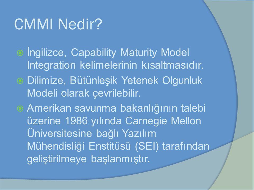 CMMI Nedir İngilizce, Capability Maturity Model Integration kelimelerinin kısaltmasıdır.