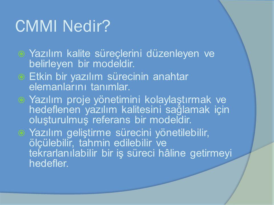 CMMI Nedir Yazılım kalite süreçlerini düzenleyen ve belirleyen bir modeldir. Etkin bir yazılım sürecinin anahtar elemanlarını tanımlar.