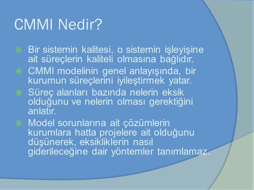 CMMI Nedir Bir sistemin kalitesi, o sistemin işleyişine ait süreçlerin kaliteli olmasına bağlıdır.