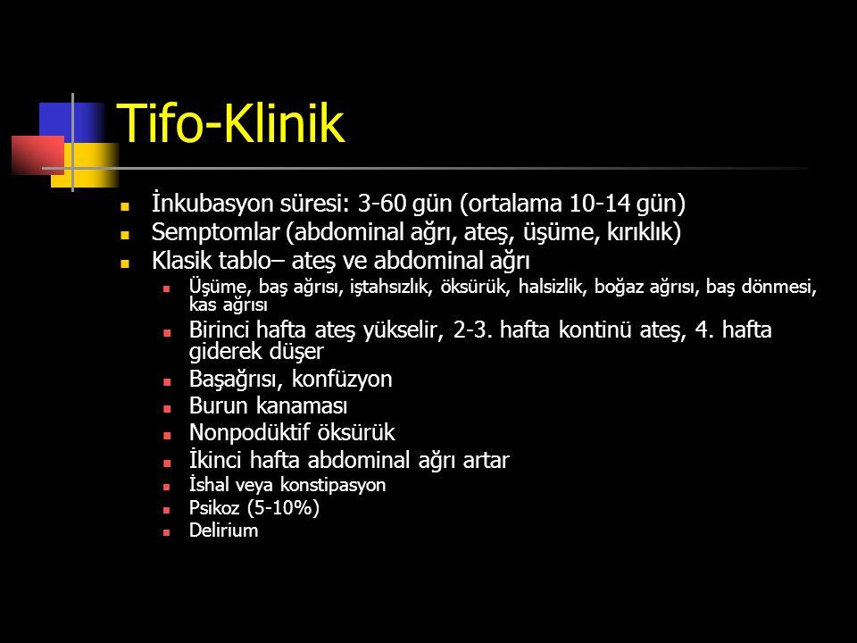 Tifo-Klinik İnkubasyon süresi: 3-60 gün (ortalama 10-14 gün)