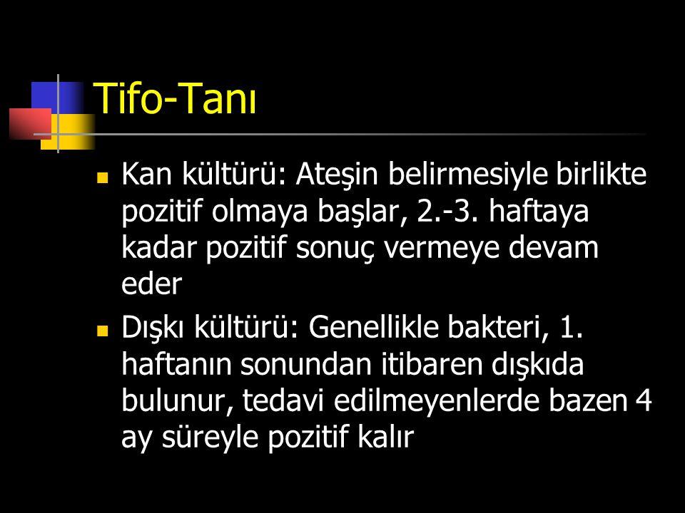 Tifo-Tanı Kan kültürü: Ateşin belirmesiyle birlikte pozitif olmaya başlar, 2.-3. haftaya kadar pozitif sonuç vermeye devam eder.