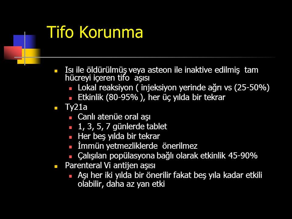 Tifo Korunma Isı ile öldürülmüş veya asteon ile inaktive edilmiş tam hücreyi içeren tifo aşısı.